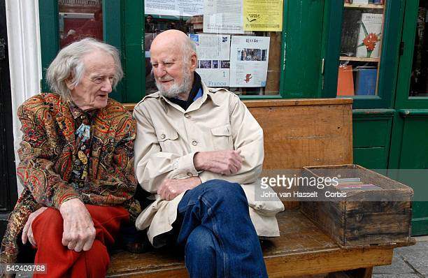 94yearold proprietor of the Shakespeare and Co Bookshop George Whitman chats to poet and publisher Lawrence Ferlinghetti owner of another great...