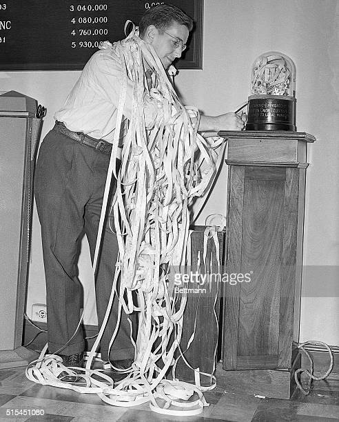 9/5/1939New York New York An employee in a New York City brokerage house get all tangled up in ticker tape during the wild day in Wall Street when...