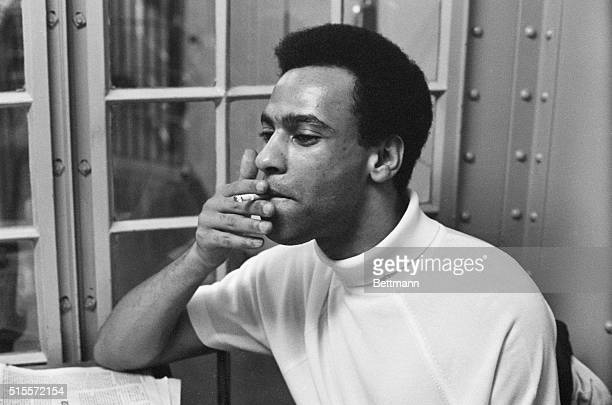 9/5/1968Oakland California Huey Newton puffs on a cigarette in holding cell 9/5 while a jury deliberated his fate Newton founder of the militant...
