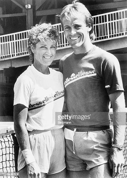 9/5/1984New York New York Chris Evert Lloyd and her husband John pose for photographers at Louis Armstrong Stadium at Flushing Meadows Chris won her...