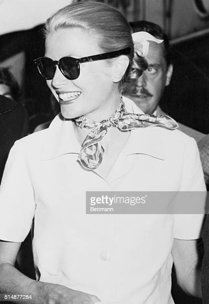 Princess Grace of Monaco the former Grace Kelly of Philadelphia and Hollywood smiles radiantly in this closeup made in Paris shortly after she and...