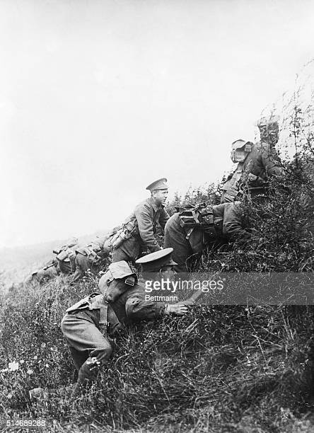 France: First photograph of the British in action at the Battle of the Marne, north of Laferte, showing them taking up a position behind a natural...