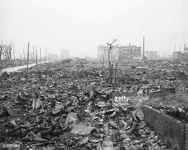 9/7/1945Hiroshima JapanStripped bare of foliage fireblackened trees are the only standing objects in this photo of a section of Hiroshima the first...