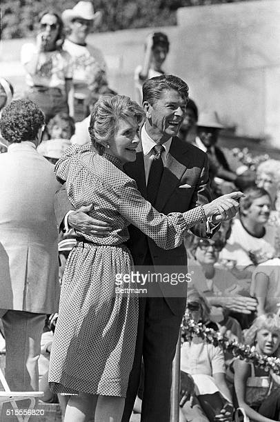 9/7/1980Philadelphia PA Presidential candidate Ronald Reagan and his wife Nancy dance to the music of the Glenn Miller band on the steps of the...