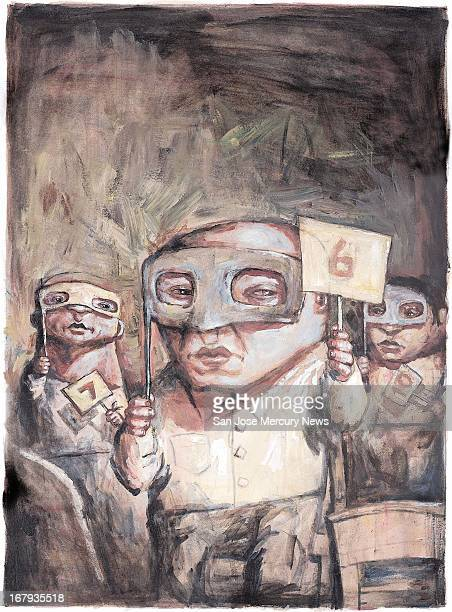 97p x 132p Jeff Faerber color illustration of three bidders each holding a bidding sign and each with a mask representing people who are scamming...