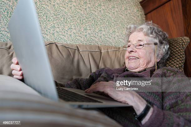 97-year-old lady with a laptop