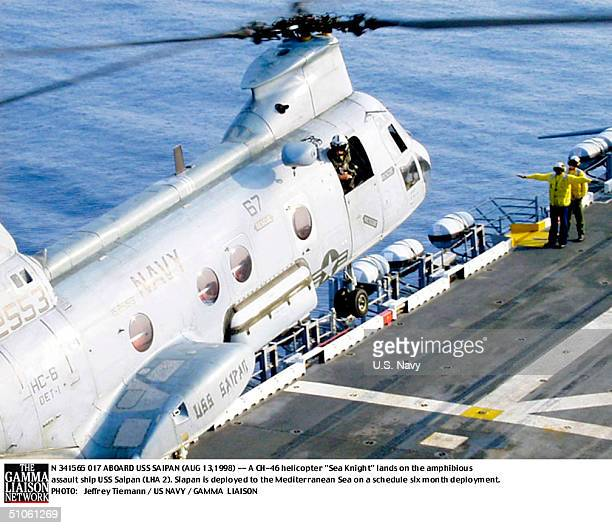 Jpg Aboard USS Saipan A Ch46 Helicopter Sea Knight Lands On The Amphibious Assault Ship USS Saipan Siapan Is Deployed To The Mediterranean Sea On A...