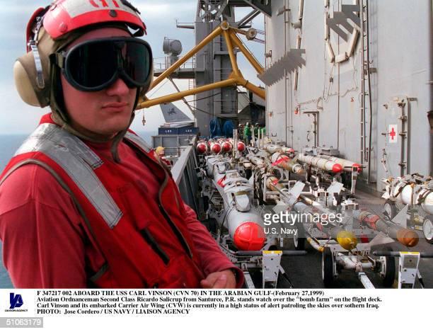 Jpg Aboard The USS Carl Vinson In The Arabian Gulf- Aviation Ordnanceman Second Class Ricardo Salicrup From Santurce, P.R. Stands Watch Over The...