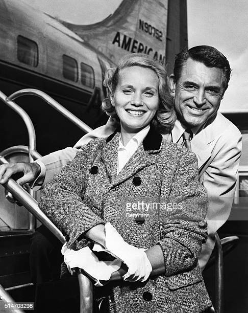 actress Eva Marie Saint and actor Cary Grant 'mug' for photographers at La Guardia Airport Sept 9th before boarding an American Airlines plane to...
