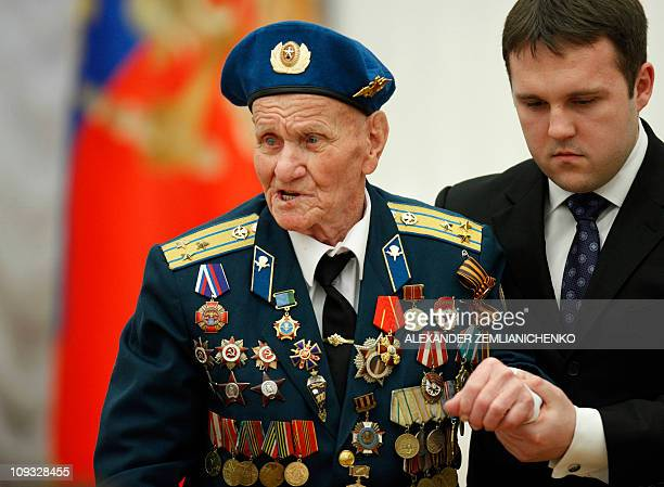 99yearold Russian WWII veteran former paratrooper Alexey Sokolov attends an awarding ceremony in Moscow's Kremlin on February 21 2011 AFP PHOTO /...