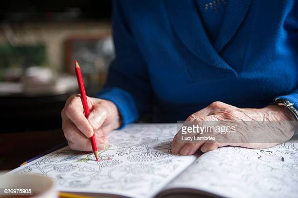99-Year-old senior woman coloring