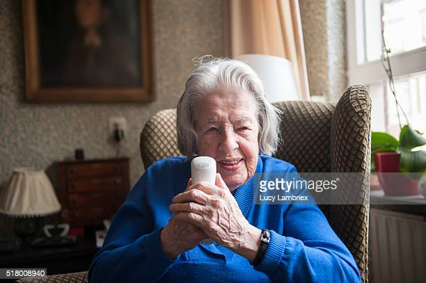 99-year-old woman on the phone