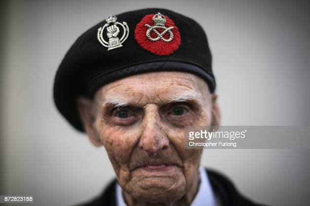 Year-old World War II veteran Les Cherrington attends the annual Armistice Day Service at The National Memorial Arboretum on November 11, 2017 in...