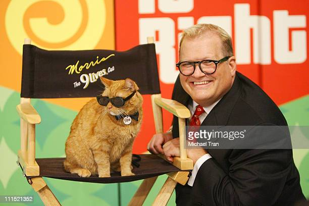 9Lives icon Morris the Cat poses with TV Personality Drew Carey of The Price is Right to kickoff a video contest that will give cat lovers the...