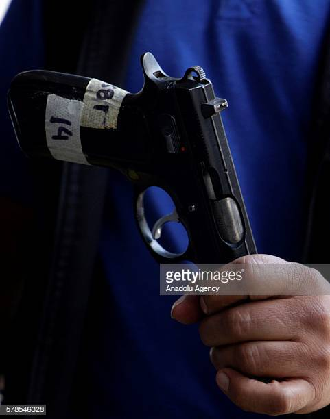9mm pistol is seen before it is destroyed in Guatemala City Guatemala on July 21 2016 The government of Guatemala destroyed 5409 confiscated weapons...