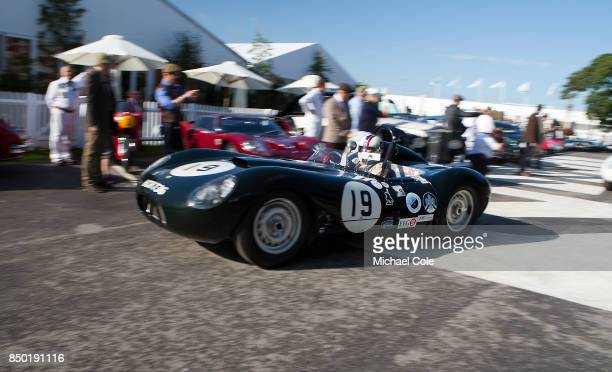 1958 ListerJaguar 'Flat Iron' leaving the Assembly Area driven by entrant Steve BoultbeeBrooks in the Sussex Trophy at Goodwood on September 9th 2017...