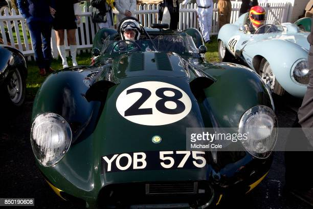 1958 ListerJaguar 'Knobbly' in the Assembly Area entrant JD Classics driven by Derek Hood in the Sussex Trophy at Goodwood on September 9th 2017 in...