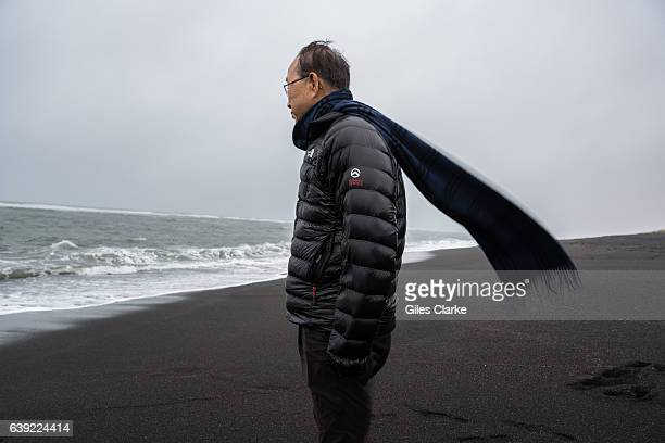 ICELAND OCTOBER 9th 2016 UN Secretary General Ban Kimoon takes in some air on a windy black sand beach on Iceland's south coast