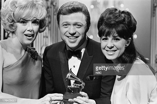 RECORD '9th Annual Grammy Awards' Pictured Actress Edie Adams singer Steve Lawrence Grammy winner for 'Best Vocal Performance Female' Eydie Gorme...