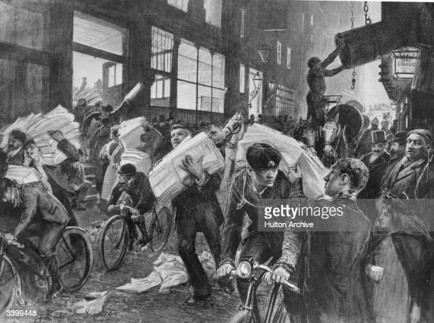 'Bicycle Boys' receiving newspapers that are to be distributed Original Artist By R Ponsonby Staples