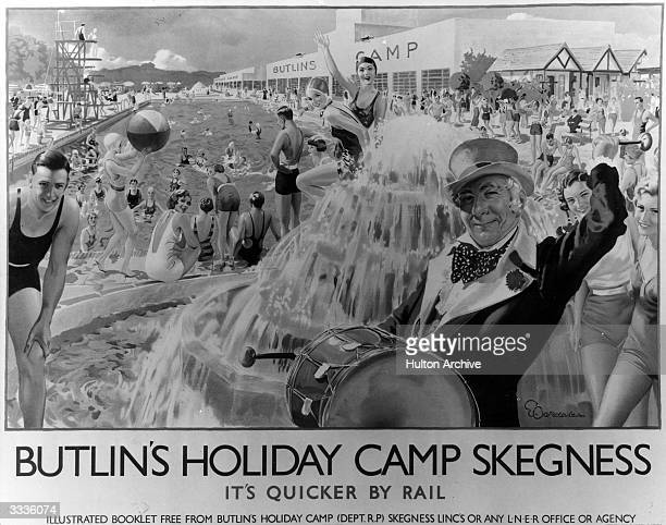 A London and North Eastern Railway poster designed by E Oakdale advertising travel to Butlin's Holiday Camp in Skegness Lincolnshire