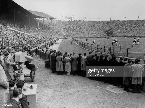 A BBC camera at work filming the football match between England and Scotland at Wembley