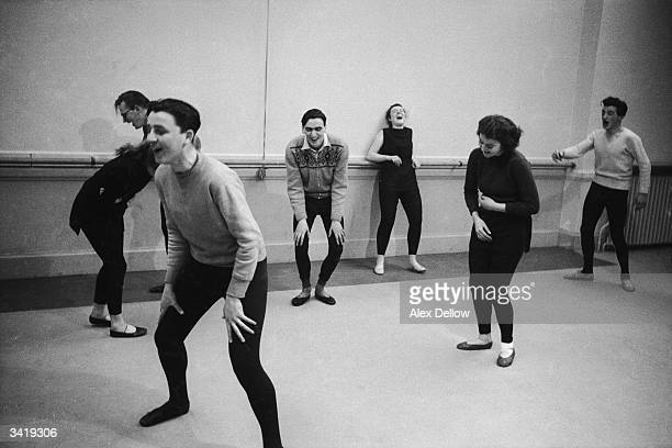 Students at the Scottish College of Dramatic Art in Glasgow demonstrate 'hysterical laughter' during a mime class The college offers practical...