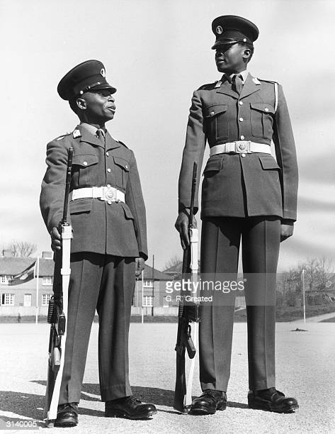 Two Officer Cadets of the Tanzania Peoples Defence Force, Ahmad Mazora who is only four feet eleven inches tall and Ndekirwa Nasser during training...