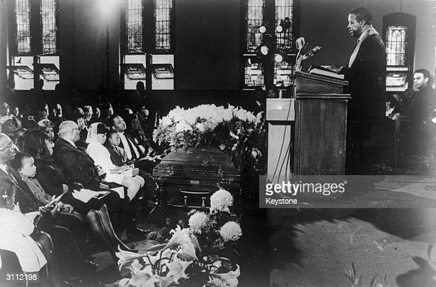 Clergyman and civil rights leader Ralph Abernathy presides over the funeral of slain civil rights leader Martin Luther King Ebenezer Baptist Church...
