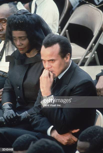 Coretta Scott King, widow of slain American civil rights leader Dr Martin Luther King Jnr, sits with actor and singer Harry Belafonte Jnr at Dr...