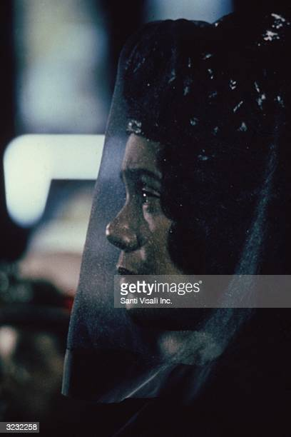 Profile of Coretta Scott King wearing a black veil at the funeral of her husband civil rights leader Dr Martin Luther King Jr Atlanta Georgia