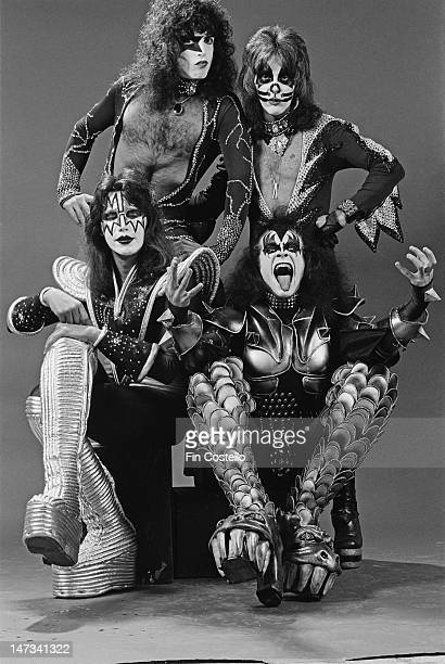 American rock group Kiss posed in New York on 9th April 1976 Clockwise from top left Paul Stanley Peter Criss Gene Simmons and Ace Frehley