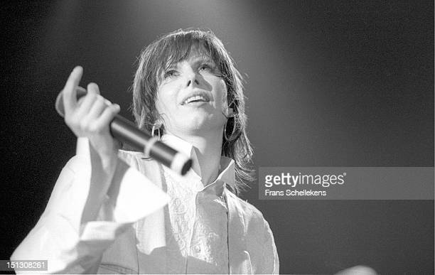 9th APRIL: Chrissie Hynde from the Pretenders performs live on stage at Vredenburg in Utrecht, Netherlands on 9th April 1987.