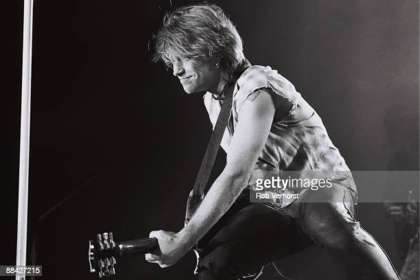 Jon Bon Jovi from Bon Jovi performs live on stage in front of the audience at Ahoy in Rotterdam Netherlands on 9th April 1993