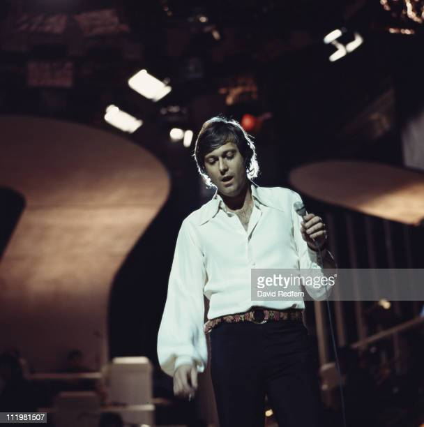 US singer Jack Jones performs live on stage at the BBC TV Theatre in London on 9th April 1972