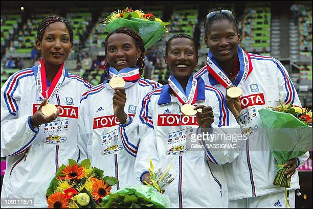 9Th Athletics World Championship In St Denis On August 31 2003 In SaintDenis France From Left To Right French Relay Team Christine Arron Sylviane...
