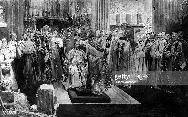 The coronation of Edward VII in Westminster Abbey.