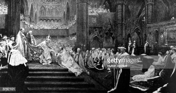 The homage giving at the coronation of Edward VII in Westminster Abbey Original Artwork Painting by J H F Bacon 'The Homage Giving'