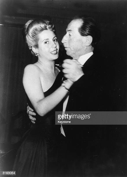Eva Peron second wife of Argentinian president Juan Peron dancing the tango with Enrico Celio Swiss Minister for Post Office and Railways at a...