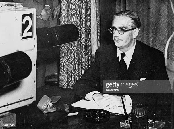 British Conservative Prime Minister Sir Anthony Eden addresses the nation with a television broadcast concerning the Suez crisis
