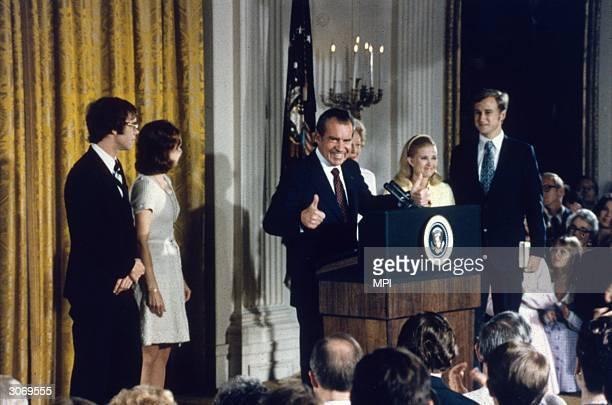 American politician Richard Nixon with his family after his resignation as President soninlaw David Eisenhower Julie NixonEisenhower Pat Nixon Tricia...