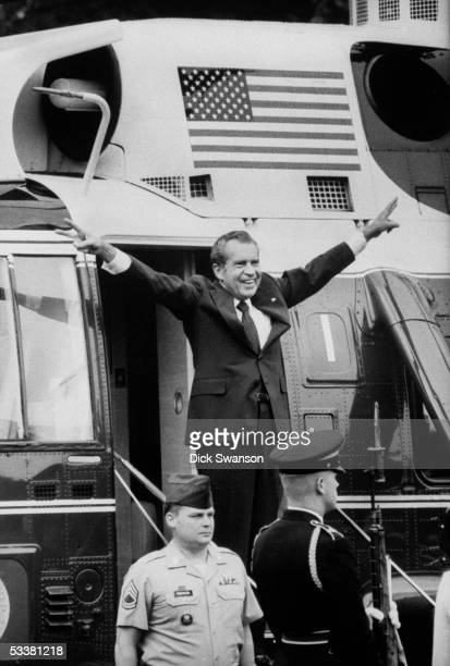 Former president Richard M Nixon waving as he is about to leave after his resignation from office