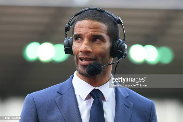 9th August 2015 Barclays Premier League Stoke City v Liverpool Former goalkeeper David James wears headphones and a microphone as he works as a...