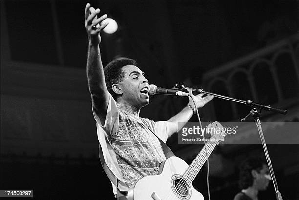9th: Brazilian musician Gilberto Gil performs at the Paradiso in Amsterdam, Netherlands on 9th September 1989.