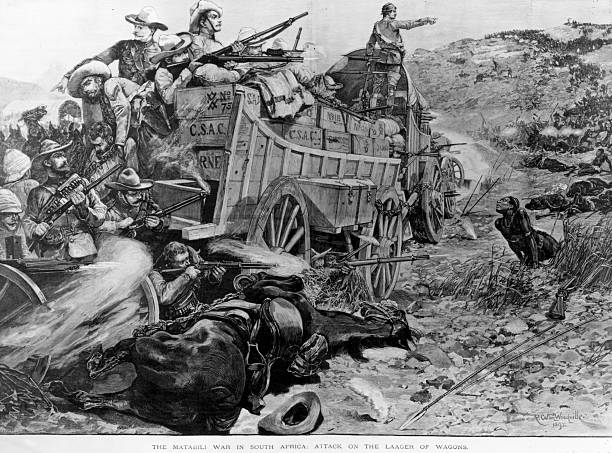 Attack on the laager of wagons during the Matabele...