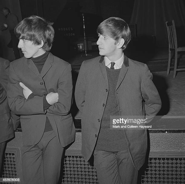 George Harrison and Ringo Starr from The Beatles posed at the Odeon Cinema in SouthendOnSea in England on 9th December 1963