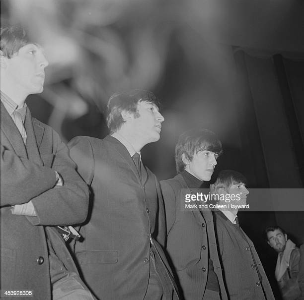 The Beatles posed at the Odeon Cinema in SouthendOnSea in England on 9th December 1963 Left to right Paul McCartney John Lennon George Harrison and...