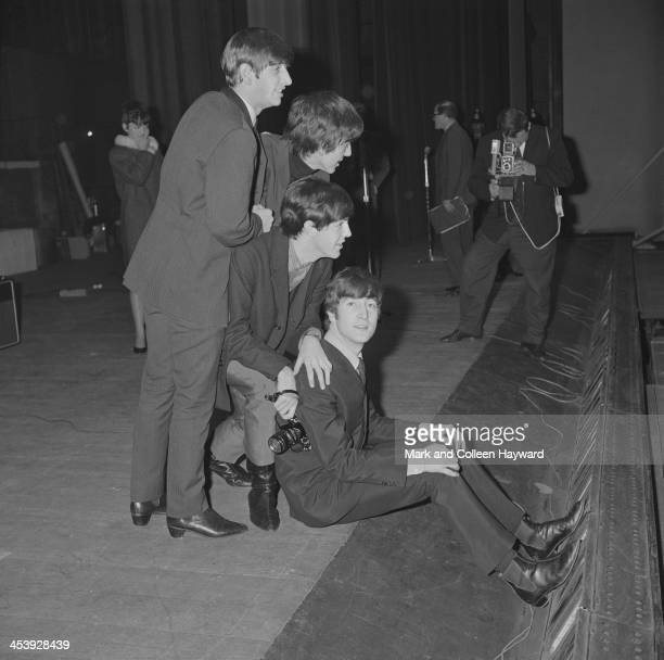 The Beatles posed at the Odeon Cinema in SouthendOnSea in England on 9th December 1963 Left to right Ringo Starr George Harrison Paul McCartney and...