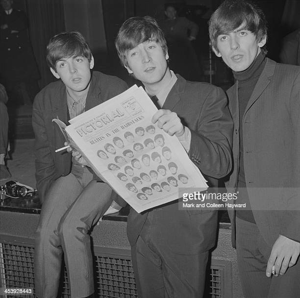 The Beatles posed at the Odeon Cinema in SouthendOnSea in England on 9th December 1963 Left to right Paul McCartney John Lennon and George Harrison...