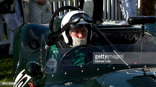 Derek Hood in his 1958 ListerJaguar 'Knobbly' in the Assembly Area entrant JD Classics in the Sussex Trophy at Goodwood on September 9th 2017 in...